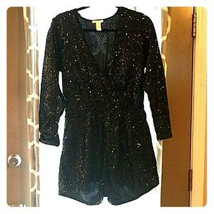Long Sleeve Black Sequin Romper